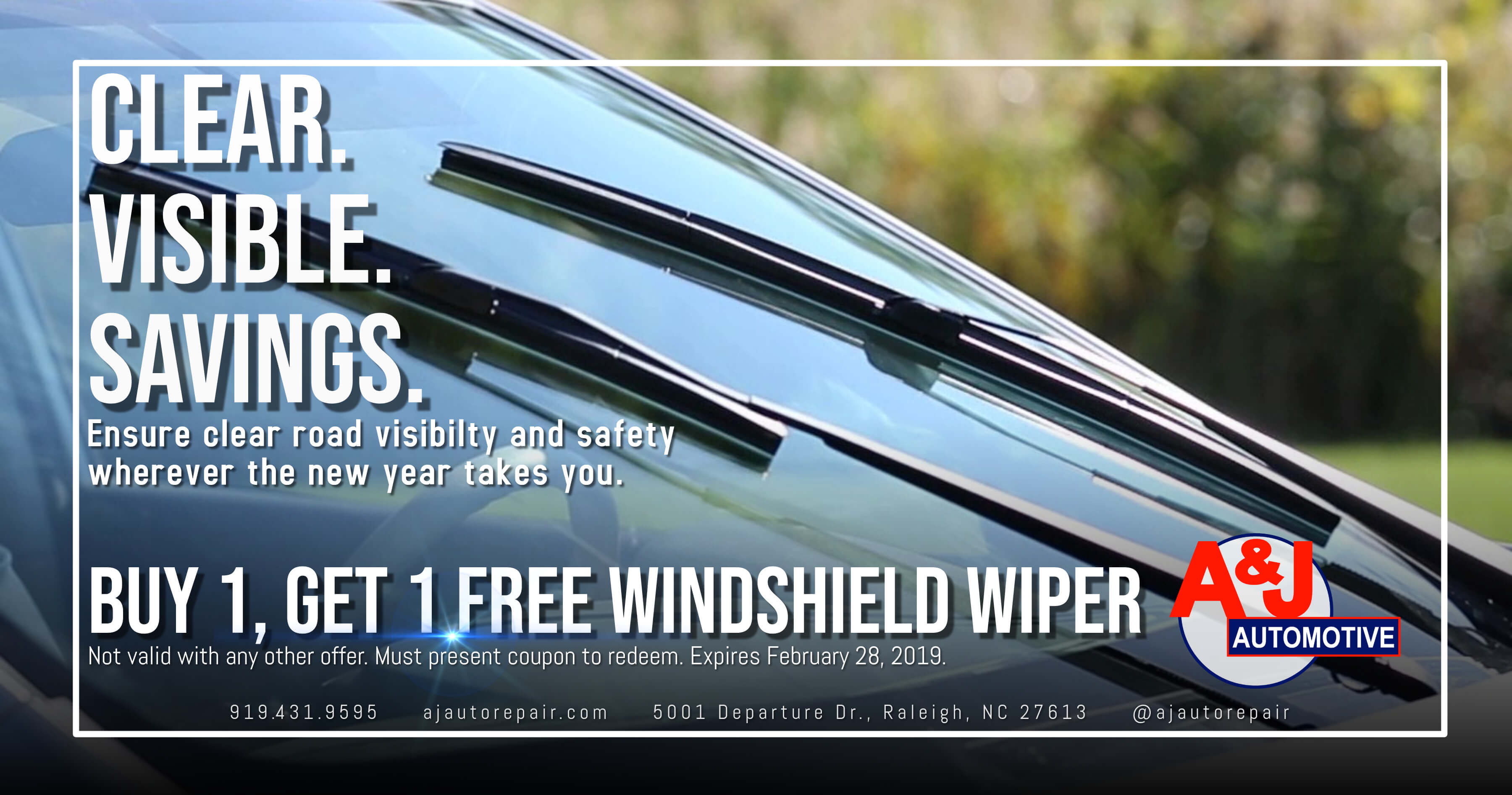 AJ-Automotive-Auto-Repair-Raleigh-NC-February-Special-Free-Windshield-Wiper-Blades-2019